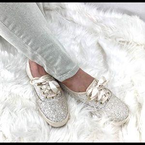 Kate Spade + Keds Sz 6.5 cream glitter satin laces